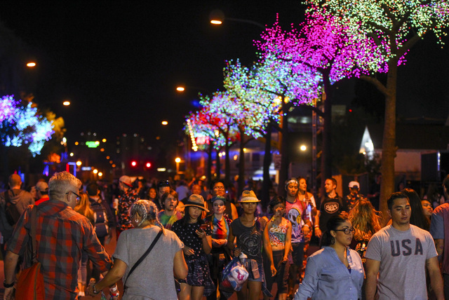 People explore the festival grounds during the Life is Beautiful music and arts festival in downtown Las Vegas on Friday, Sept. 23, 2016. Chase Stevens/Las Vegas Review-Journal Follow @csstevensphoto