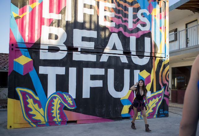 Life is Beautiful attendee Krystal Gonzalez poses for a photo near a mural at the music and arts festival Saturday afternoon, Sept. 24, 2016, in downtown Las Vegas. Elizabeth Page Brumley/Las Vega ...