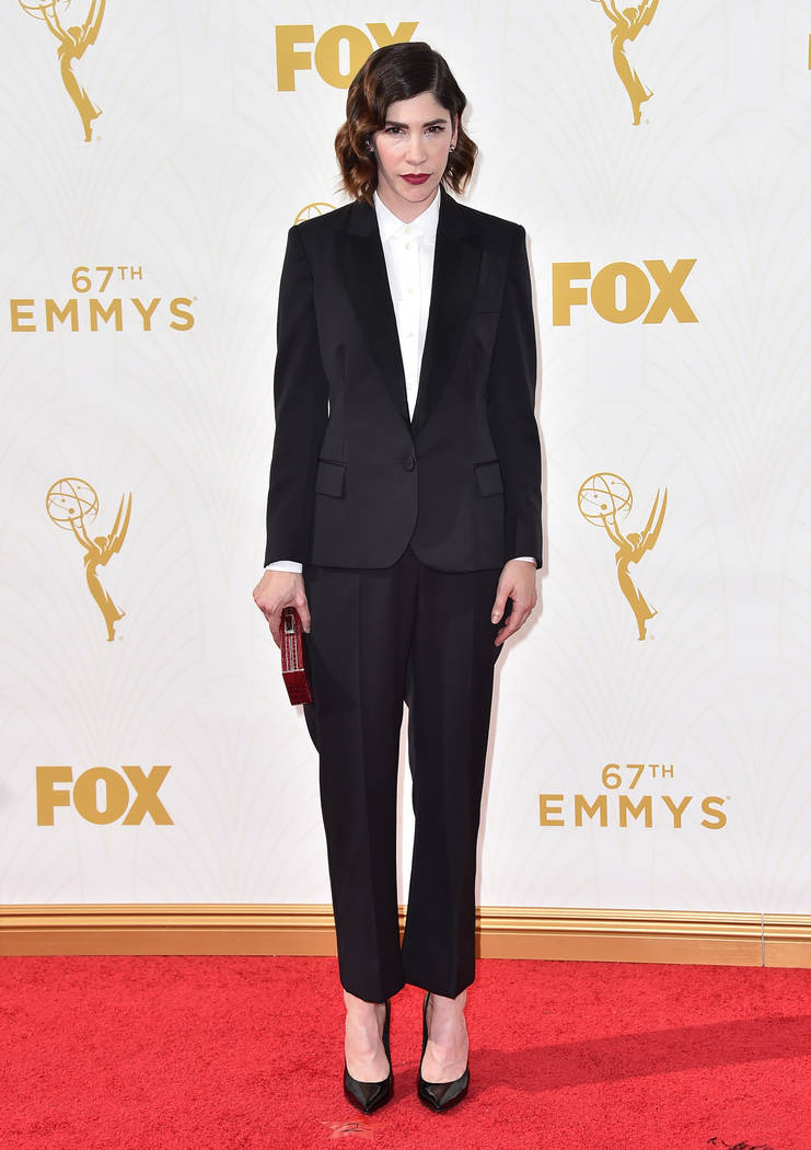 Carrie Brownstein arrives at the 67th Primetime Emmy Awards on Sunday, Sept. 20, 2015, at the Microsoft Theater in Los Angeles. (Photo by Jordan Strauss/Invision/AP)