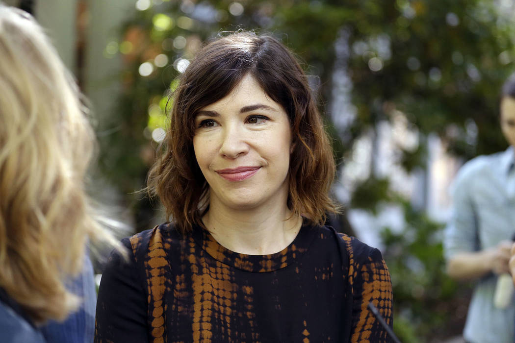 "Portlandia star Carrie Brownstein is shown during the filming of the television show ""Portlandia"" in Portland, Ore., Friday, Sept. 18, 2015. (Don Ryan/AP)"