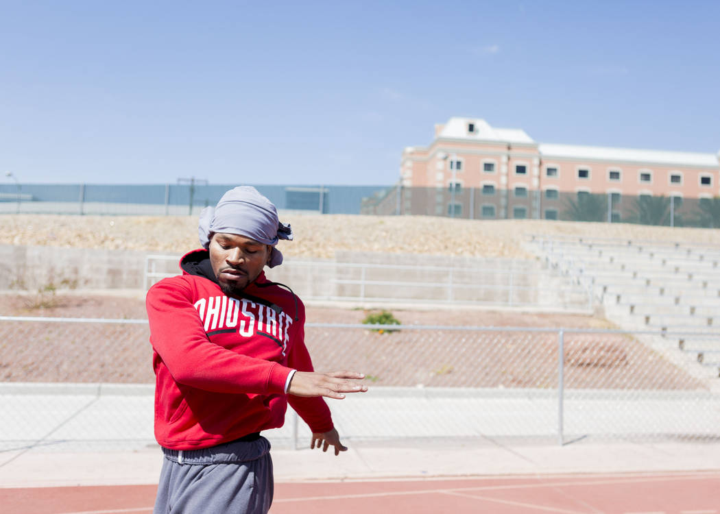 Boxer Shawn Porter completes circuits during strength and conditioning training at the UNLV track in Las Vegas Monday, April 10, 2017. Elizabeth Brumley Las Vegas Review-Journal @EliPagePhoto
