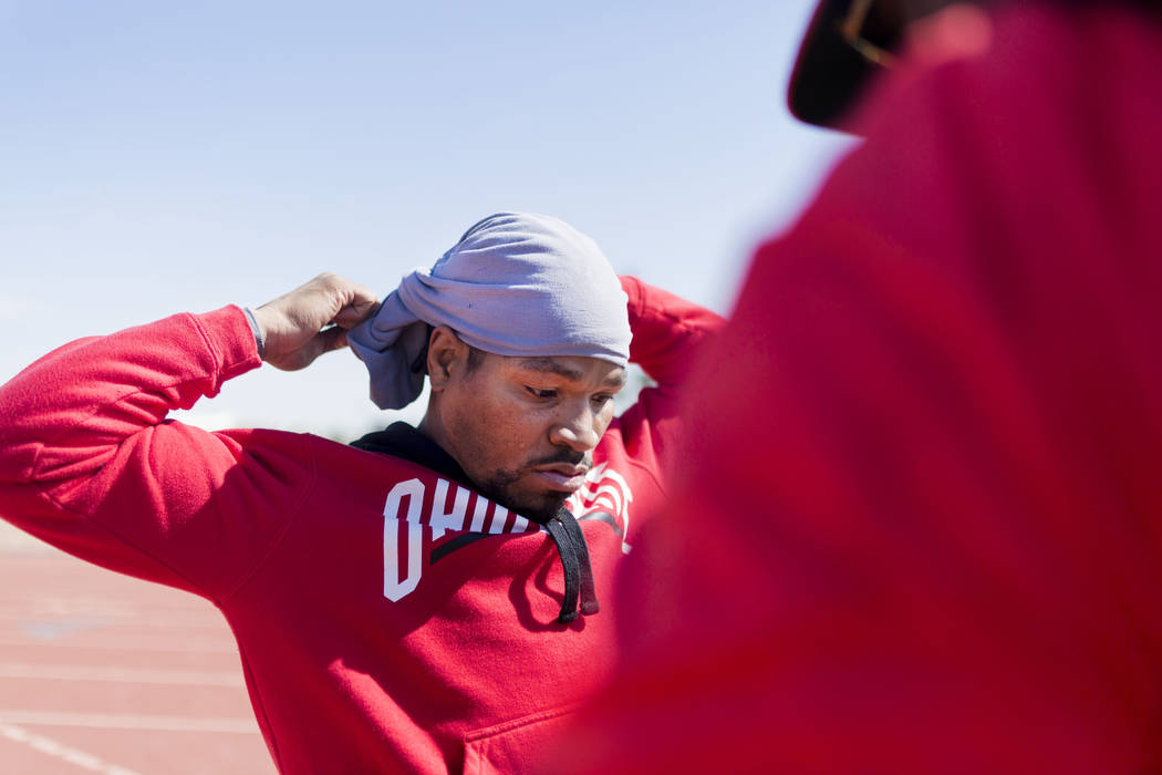 Boxer Shawn Porter prepares for strength and conditioning training with his coach Larry Wade at the UNLV track in Las Vegas Monday, April 10, 2017. Elizabeth Brumley Las Vegas Review-Journal @EliP ...