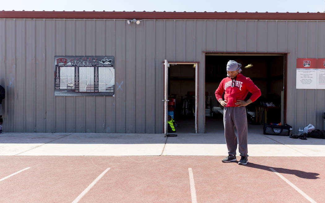 Boxer Shawn Porter listens to his playlist while preparing for strength and conditioning training at the UNLV track in Las Vegas Monday, April 10, 2017. Elizabeth Brumley Las Vegas Review-Journal  ...