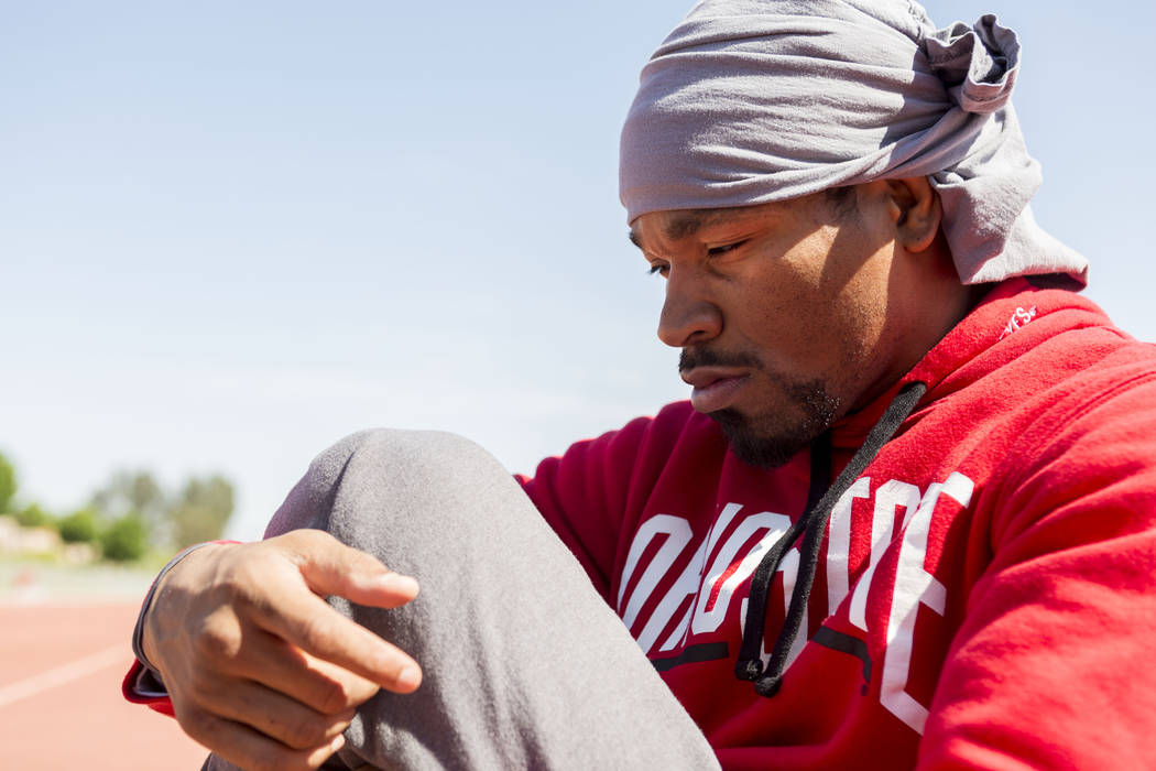 Boxer Shawn Porter prepares for strength and conditioning training at the UNLV track in Las Vegas Monday, April 10, 2017. Elizabeth Brumley Las Vegas Review-Journal @EliPagePhoto
