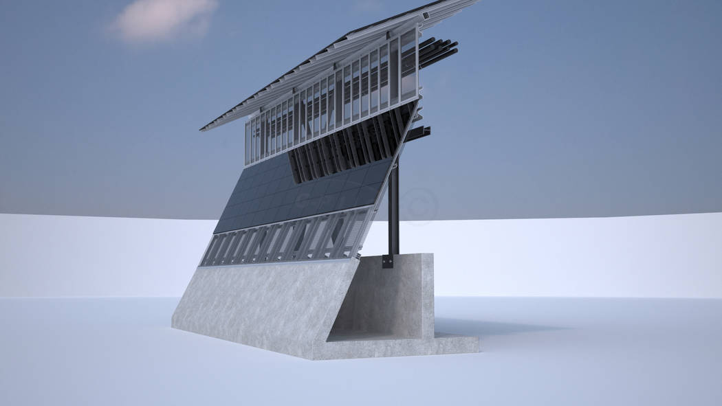 Thomas Gleason, owner of North Las Vegas-based Gleason Partners, says he submitted a bid for President Trump's proposed border wall with Mexico. Gleason's barrier, as seen in the above rendering,  ...