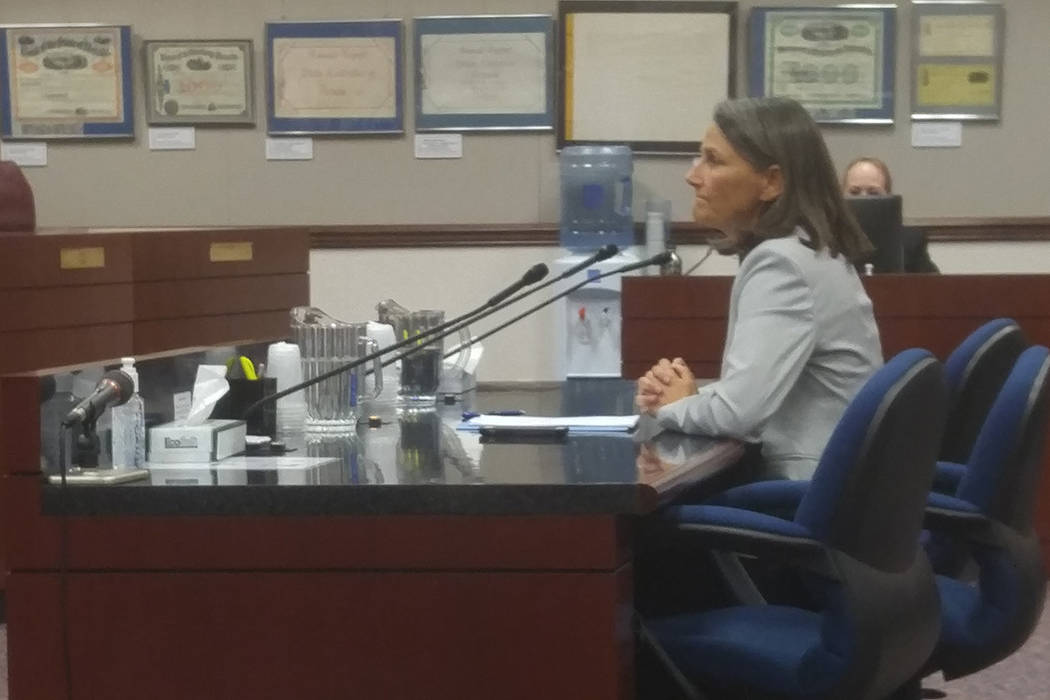 Sen. Julia Ratti, D-Sparks, talks Wednesday to the Senate Judiciary Committee about a measure intended to keep firearms from people who pose a danger to themselves or others. (Ben Botkin/Las Vegas ...