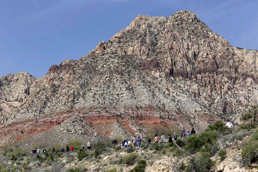 Visitors hike at the Spring Mountain Ranch State Park on Sunday, April 9, 2017, near Red Rock Canyon. (Christian K. Lee Las Vegas Review-Journal @chrisklee_jpeg)