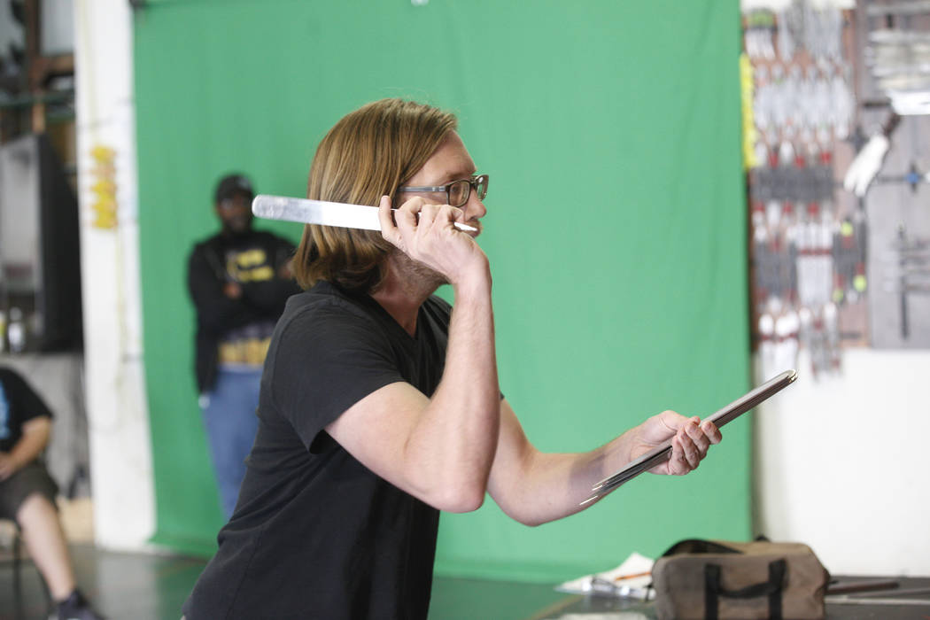 Matt Franta throws knives at a target at the U.S. Nationals Pro/Am Knife & Tomahawk Championships on Sunday, April 9, 2017, at the Superhero Foundry in Las Vegas. The event is a fundraiser for ...