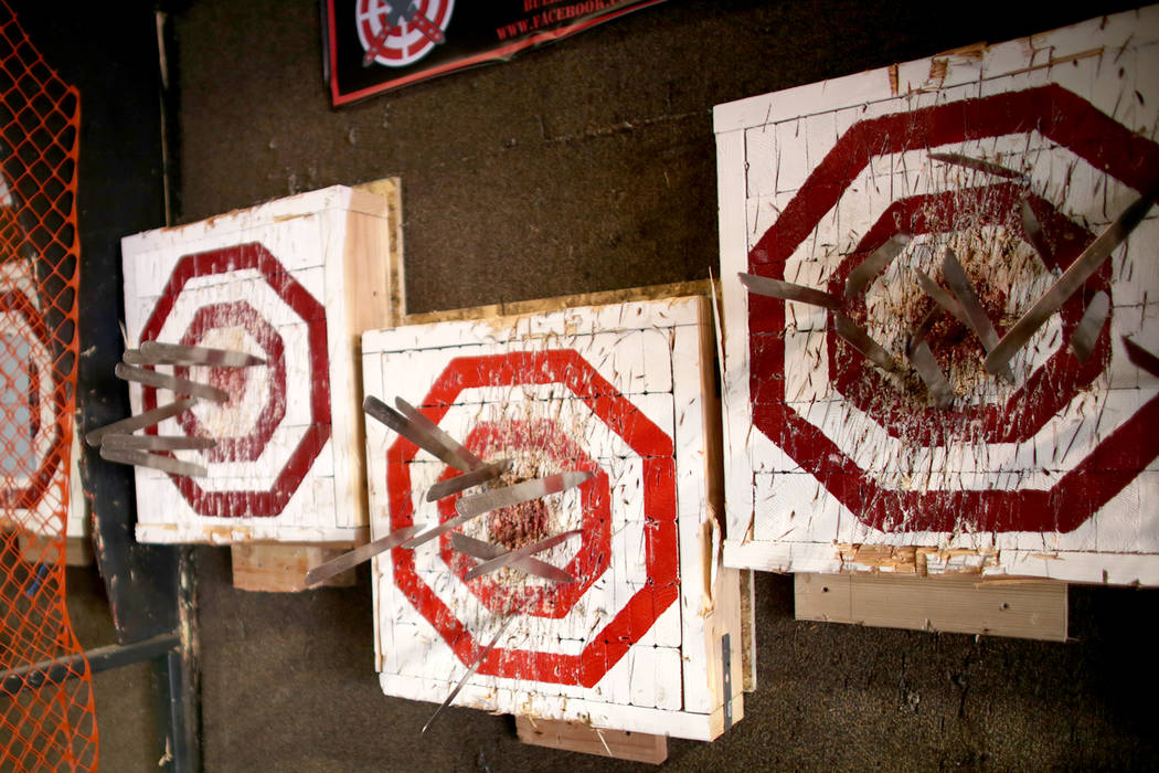 Knives stuck in targets at the U.S. Nationals Pro/Am Knife & Tomahawk Championships on Sunday, April 9, 2017, at the Superhero Foundry in Las Vegas. The event is a fundraiser for SemperFiFund. ...