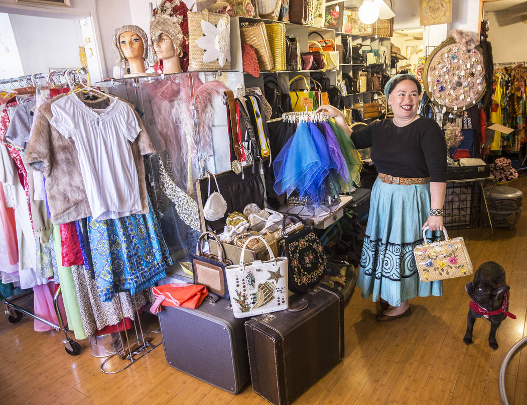 """Stephanie Roshto, owner of Glam Factory Vintage in the Arts District, spends all year collecting fifties era apparel to sell at her consignment store leading up to Viva Las Vegas. """"People start li ..."""