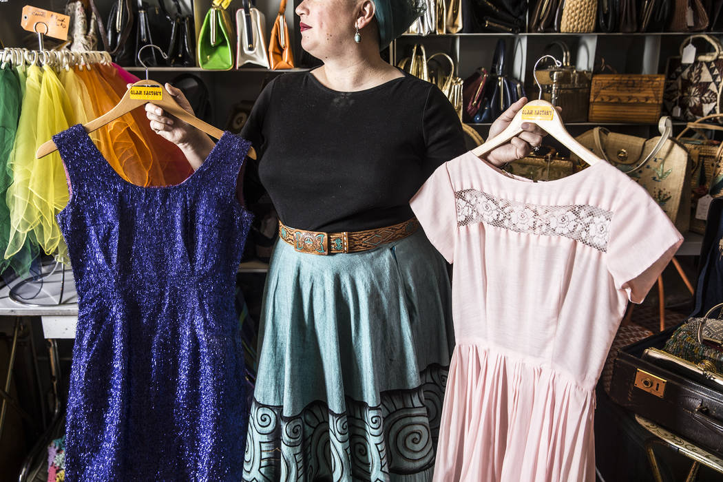 """Stephanie Roshto, owner of Glam Factory Vintage in the Arts District, spends all year collecting fifties era apparel to sell at her  consignment store leading up to Viva Las Vegas. """"Peopl ..."""