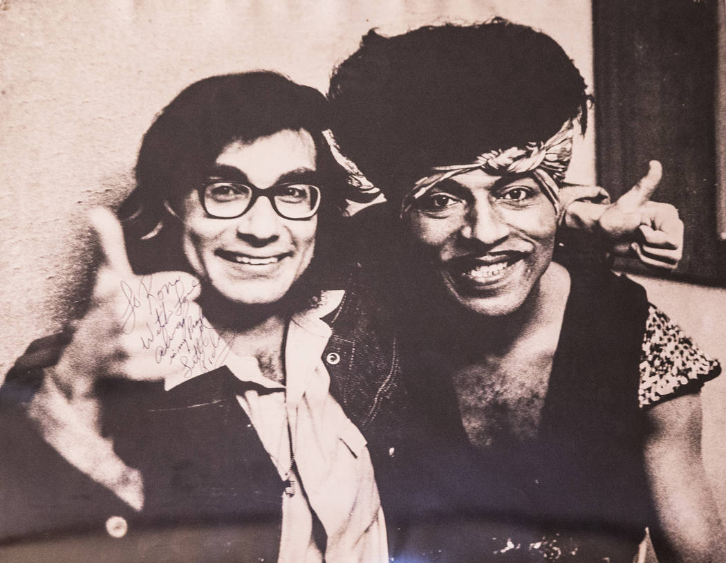 A photo of Rockin' Ronny Weiser, left, and Little Richard from 1971 at Whiskey a Go Go, in Hollywood, Ca.,  hangs on the wall at Weiser's Las Vegas home on Saturday, April 1, 2017, in Las Vegas. ( ...