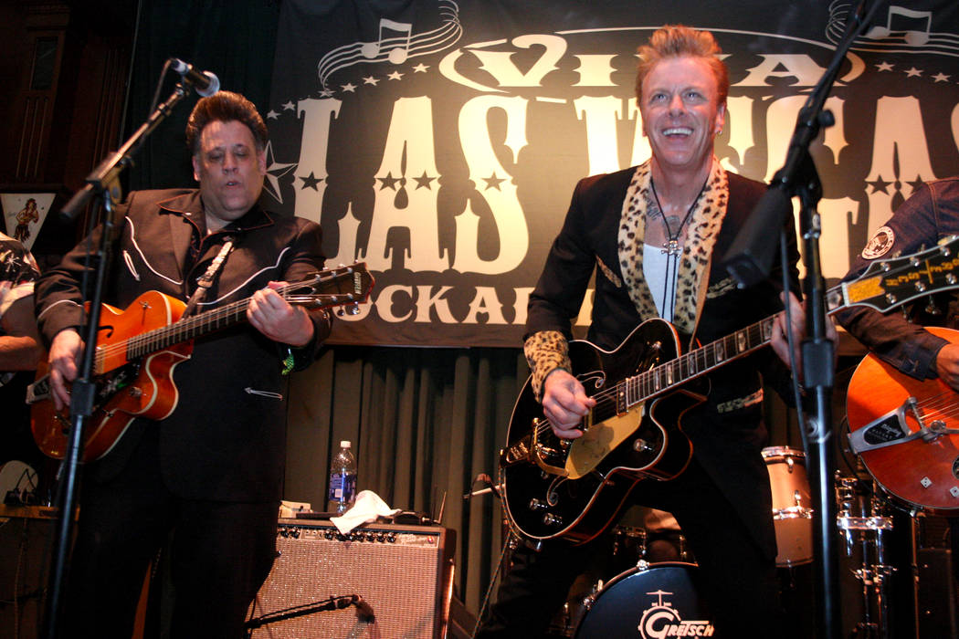Billy Connah,right, from New York, joins Roy Wilson and The Buzzards on stage in Brendan's Pub at the Viva Las Vegas Rockabilly Weekend in the Orleans hotel-casino on Saturday, April 4, 2015. (Mic ...