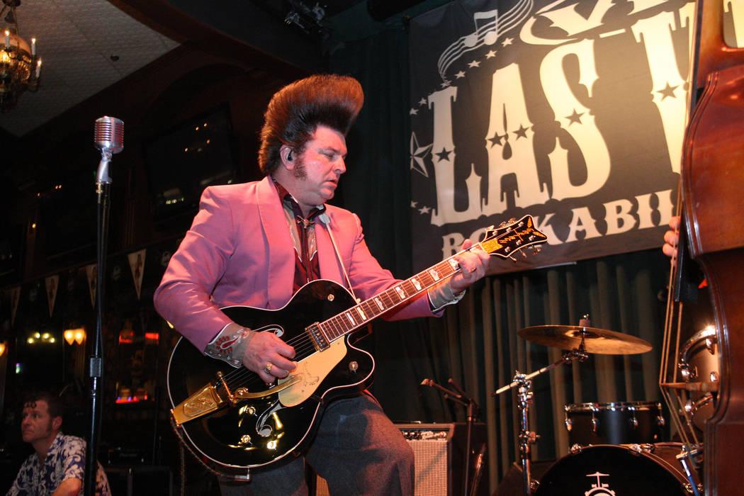 Carl Schreiber of the Cadillac Casanovas keeps it rocking in Brendan's Pub at the Viva Las Vegas Rockabilly Weekend in the Orleans hotel-casino on Saturday, April 4, 2015. Michael Quine/Las Vegas  ...