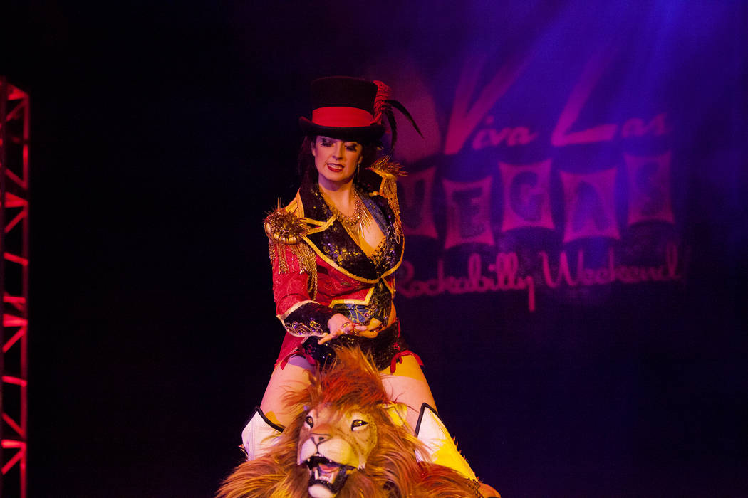 Tansy and her Ferocious Lion perform in the Burlesque Showcase at the 19th Annual Viva Las Vegas Rockabilly Weekender at the Orleans Hotel and Casino on Friday, April 15, 2016. (Michael Quine/Las  ...