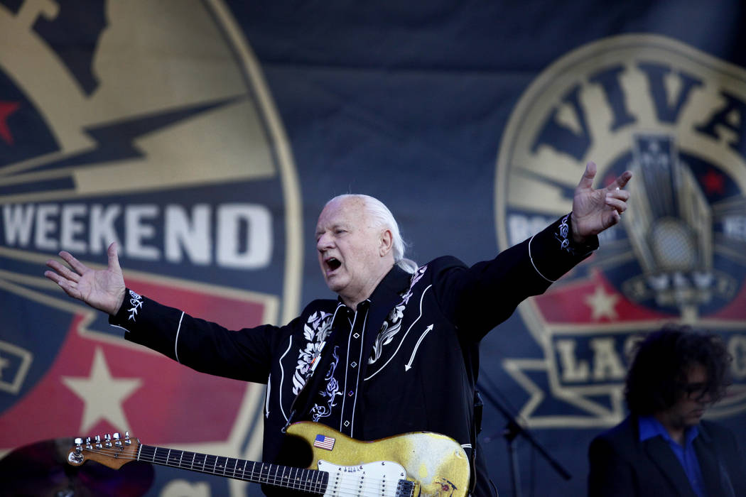 Guitar legend, Dick Dale, greets the audience at the 19th Annual Viva Las Vegas Rockabilly Weekender at the Orleans Hotel and Casino on Saturday, April 16, 2016. (Michael Quine/Las Vegas Review-Jo ...