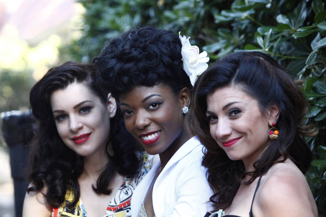 Kelly Lipinsky, left, Temeka Estes and Darcy Wood from Chicago gather at Ronny Weiser's Rockabilly Weekender Meet and Greet on Wednesday April 13, 2016. (Michael Quine/Las Vegas Review-Journal) Fo ...