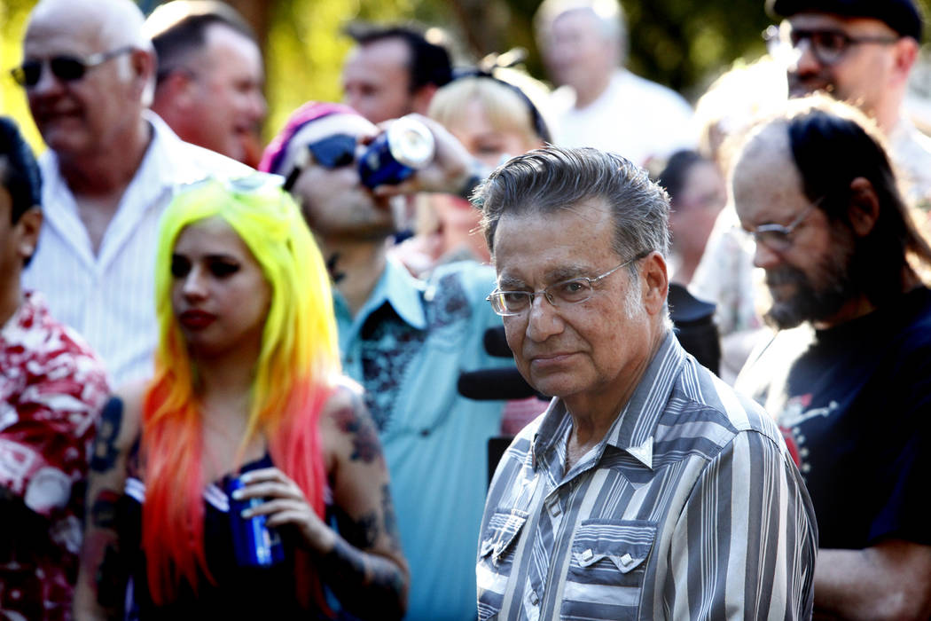 Ronny Weiser, center, holds his yearly Rockabilly Weekender Meet and Greet at his home in Las Vegas on Wednesday April 13, 2016. (Michael Quine/Las Vegas Review-Journal) Follow @Vegas88s