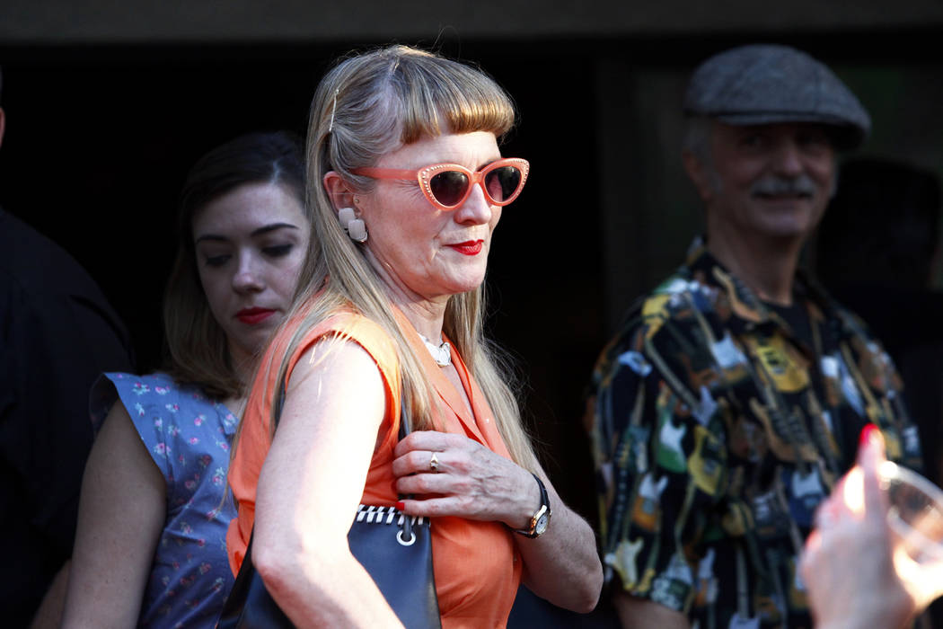 Denise Arnold, center, from London, UK mingles with the crowd at Ronny Weiser's Rockabilly Weekender Meet and Greet on Wednesday April 13, 2016. (Michael Quine/Las Vegas Review-Journal) Follow @Ve ...