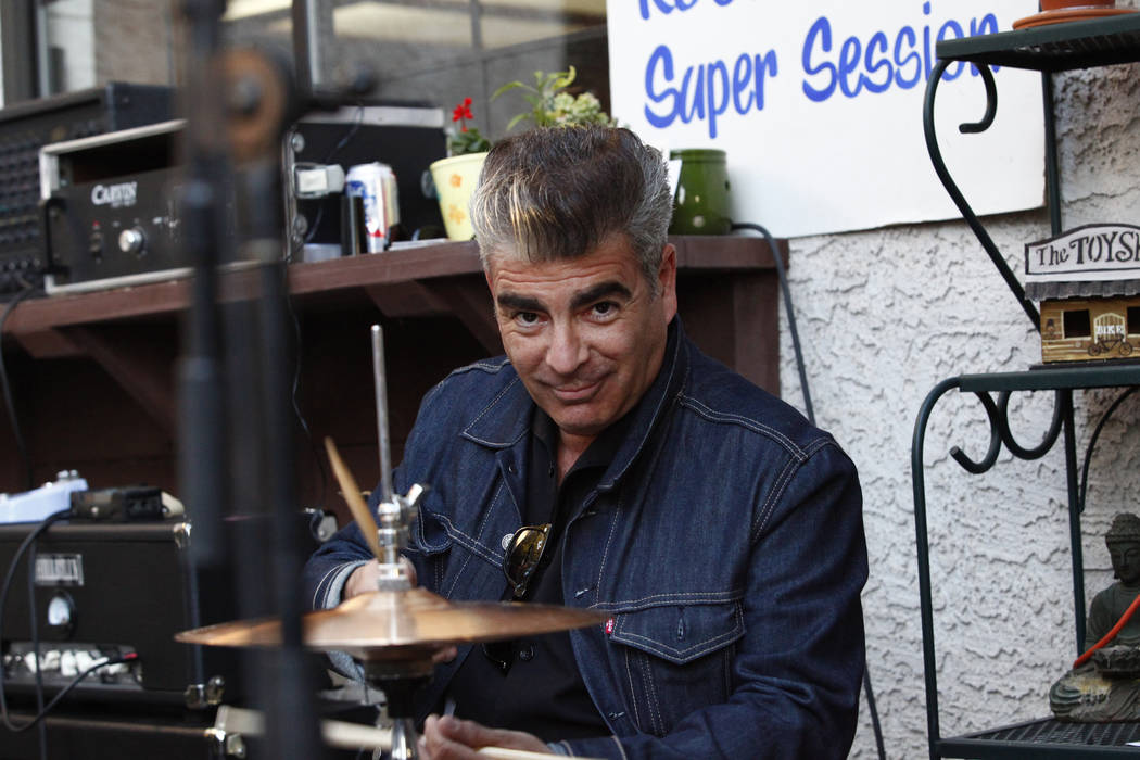 Carlos Rotonearo of Argentina lays down a beat at Ronny Weiser's Rockabilly Weekender Meet and Greet on Wednesday April 13, 2016. (Michael Quine/Las Vegas Review-Journal) Follow @Vegas88s