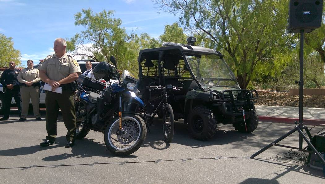 At a Thursday afternoon briefing on crime reduction at the Wetlands Park, Commander Roy Michael of the Clark County Park Police pointed out the use of new all-terrain vehicles to patrol the park.  ...