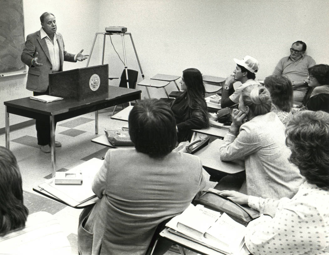 Don Rickles at UNLV class, Nov. 25, 1981. (Wayne C. Kodey/Las Vegas Review-Journal)