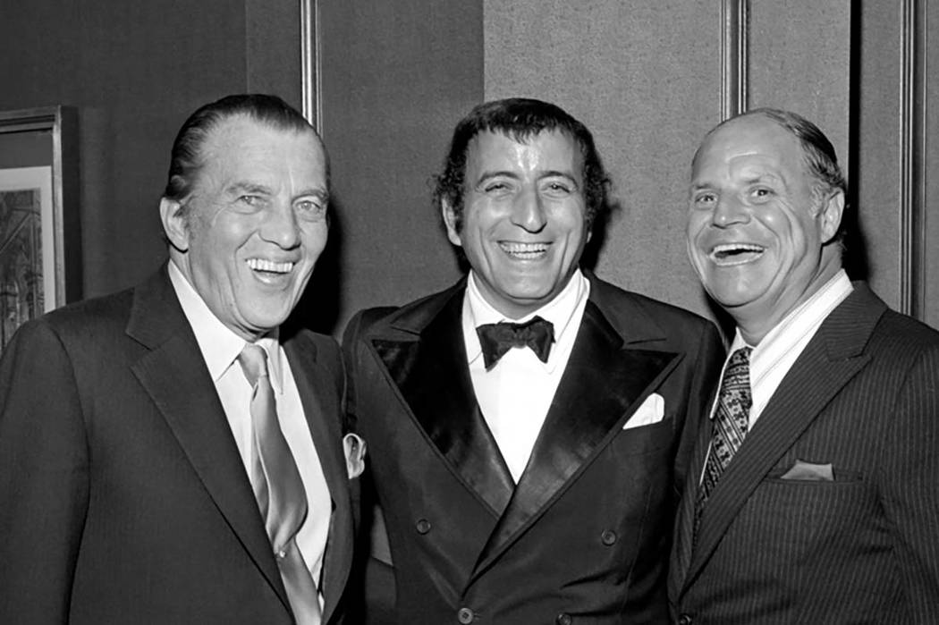 Ed Sullivan, left, Tony Bennett, middle and Don Rickles, right, at Tony Bennett's opening night party at the Riviera Hotel and Casino in Las Vegas on Oct. 26, 1971. (Las Vegas News Bureau)