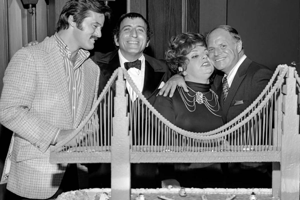 Robert Goulet, from left, Tony Bennett, Totie Fields and Don Rickles, right, at Tony Bennett's opening night party at the Riviera Hotel and Casino in Las Vegas on Oct. 26, 1971. (Las Vegas News Bu ...
