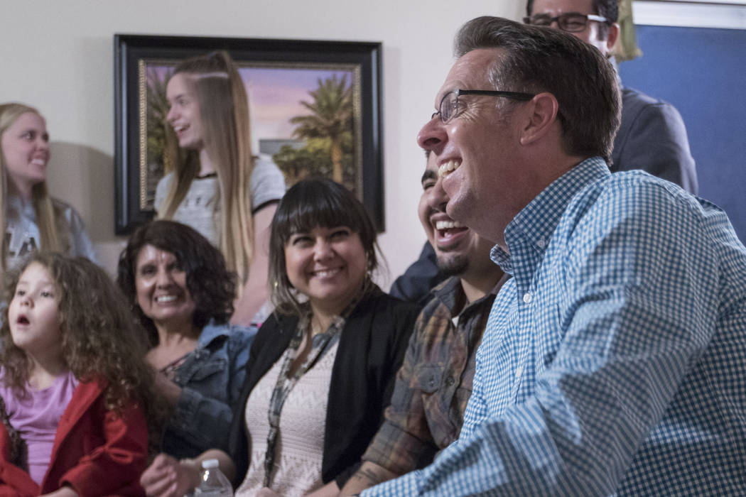 North Las Vegas City Council nominee Scott Black, right, and his family and friends wait for election results at his home in Las Vegas on Tuesday, April 4, 2017. (Heidi Fang/Las Vegas Review-Journ ...