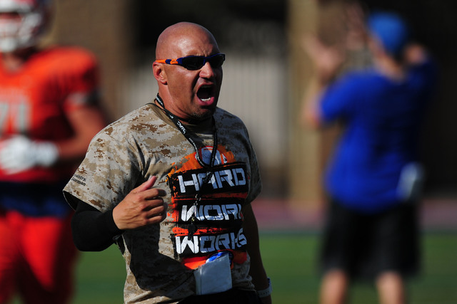Bishop Gorman head coach Kenny Sanchez yells out instructions during practice at Bishop Gorman High School in Las Vegas on Aug. 31, 2016. (Josh Holmberg/Las Vegas Review-Journal)