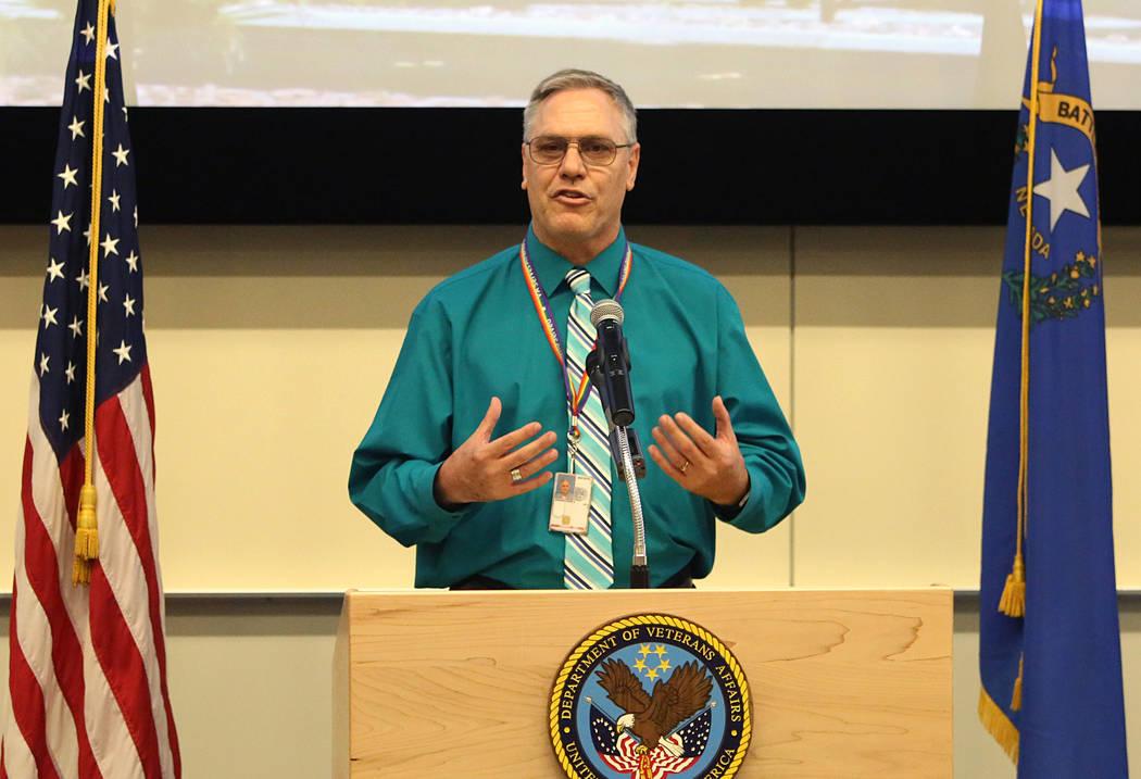 LGBTQ Veterans Care Coordinator David Jenkins speaks at a press conference at the VA Medical Center in North Las Vegas on Friday, April 7. Bizuayehu Tesfaye/Las Vegas Review-Journal@bizutesfaye