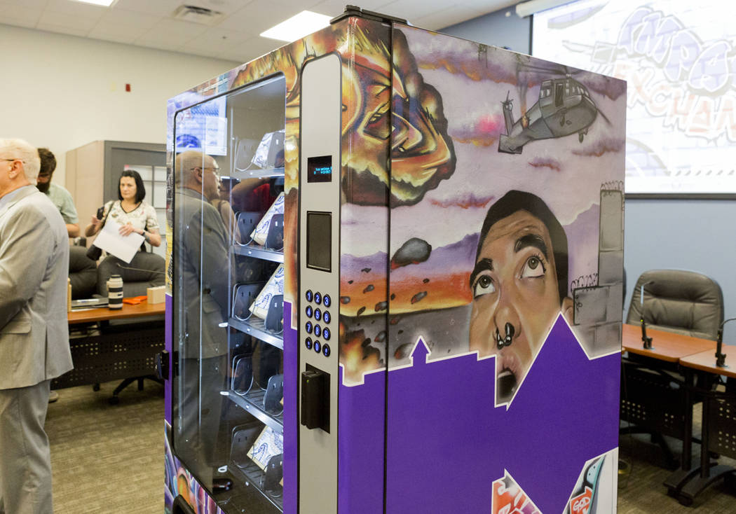 The Southern Nevada Health District and Trac-B Exchange reveal the first-in-the-country needle vending machine at the Southern Nevada Health District in Las Vegas, Wednesday, April 12, 2017. Eliza ...