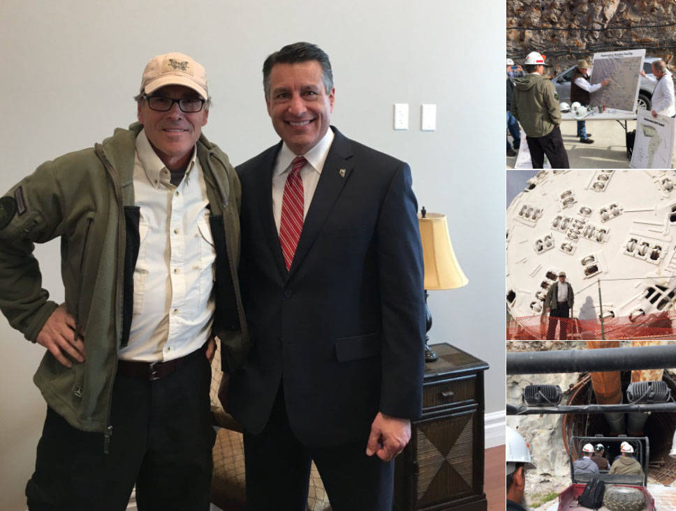 Energy Secretary Rick Perry, left, meets with Nevada Gov. Brian Sandoval after touring the Yucca Mountain site on March 27, 2017. Sandoval, a fierce opponent of the proposed nuclear waste reposito ...