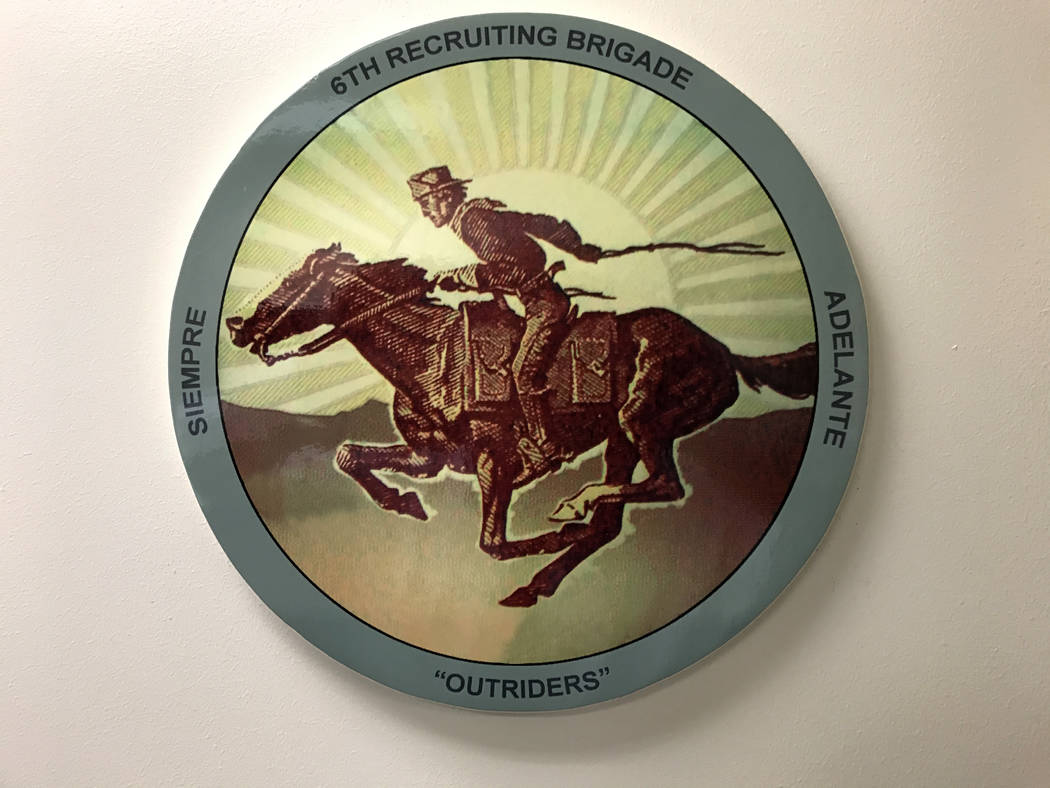The 6th Recruiting Brigade's logo features a soldier on horseback. Keith Rogers Las Vegas Review-Journal