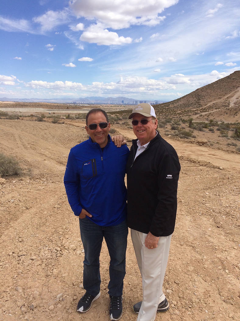 From left, Discovery Land Inc founder Mike Meldman and celebrity golf designer Tom Fazio at The Summit, an ultra-luxury community under construction in Summerlin. (Discovery Land))
