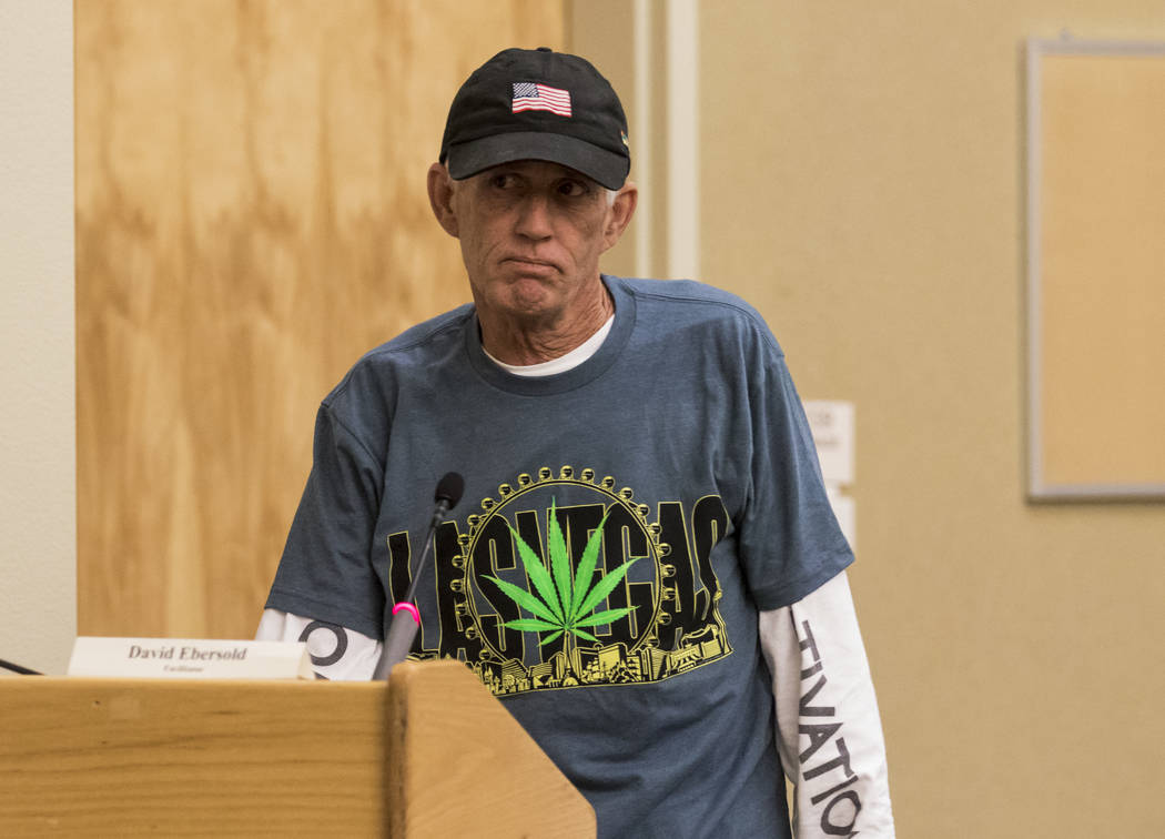 Tom Haynie of Las Vegas Dispensary Solutions voices a concern regarding health during a meeting for Clark Countyճ Green Ribbon Panel at the Clark County Department of Building and Fire Preve ...
