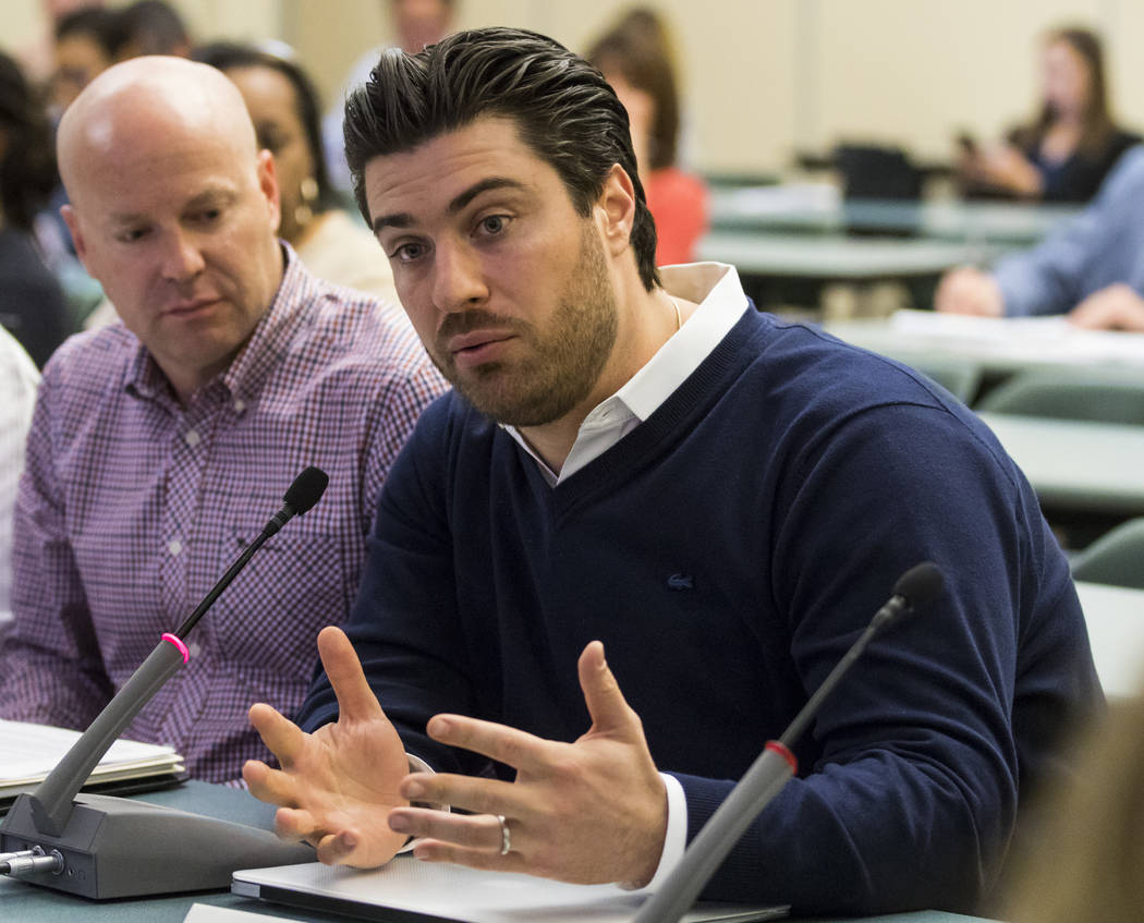 Armen Yemenidjian with Essence Cannabis dispensaries during a meeting for Clark Countyճ Green Ribbon Panel at the Clark County Department of Building and Fire Prevention in Henderson on Frid ...