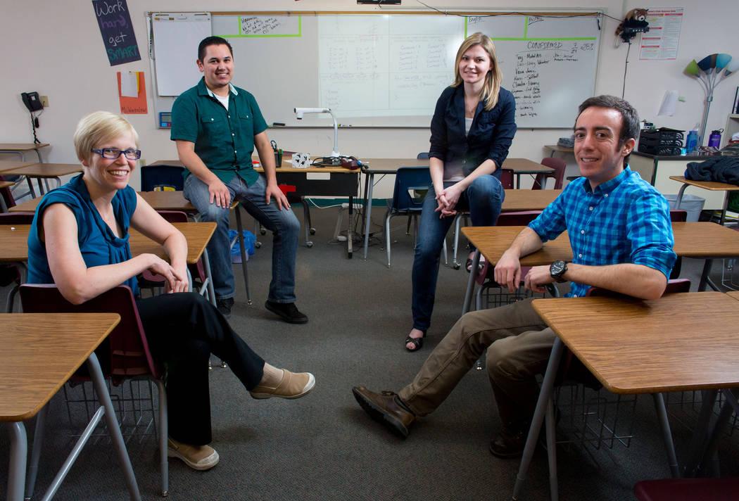 Scholars Working Overtime teachers, from left, Emily Bassier (cq), Raymond Gonzalez, Rachel Warbelow (cq) and Ben Salkowe, (cq) pose at Eldorado High School on Thursday, Oct. 24, 2013. Scholars Wo ...