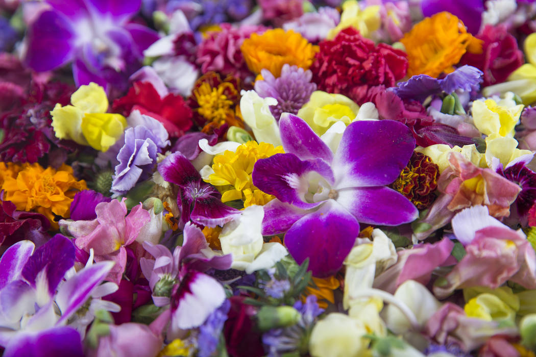 Many edible flowers are available year-round, but are most popular in the spring for adding to dishes ranging from salads to desserts. Benjamin Hager Las Vegas Review-Journal