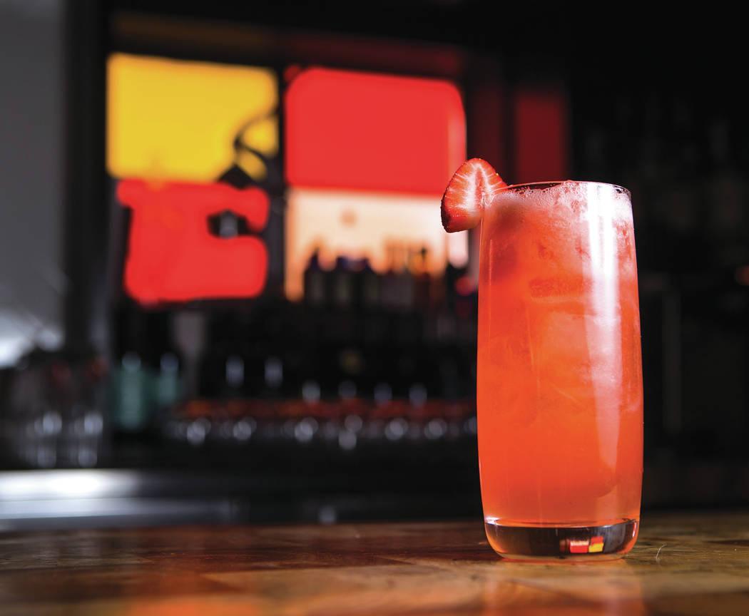 The Pink Smoking Jacket cocktail at Carson Kitchen in Las Vegas on Thursday, April 6, 2017. Chase Stevens Las Vegas Review-Journal @csstevensphoto