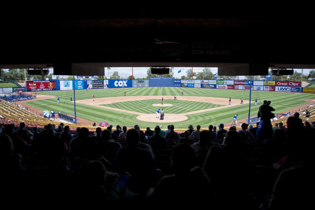 Fans stay cool in the shade during the Las Vegas 51s baseball game against the Tacoma Rainiers at Cashman Field on Tuesday, June 7, 2016. Temperatures during the game rose into the triple digits.  ...