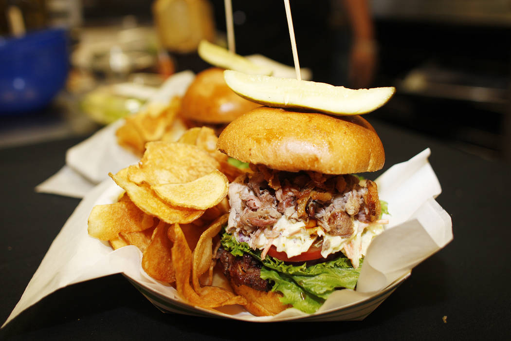 The burger for the month of June that will be sold under the new concessionaire, Centerplate, on Monday, April 10, 2017, at Cashman Field in Las Vegas. Pineapple and red onion are in the ground be ...