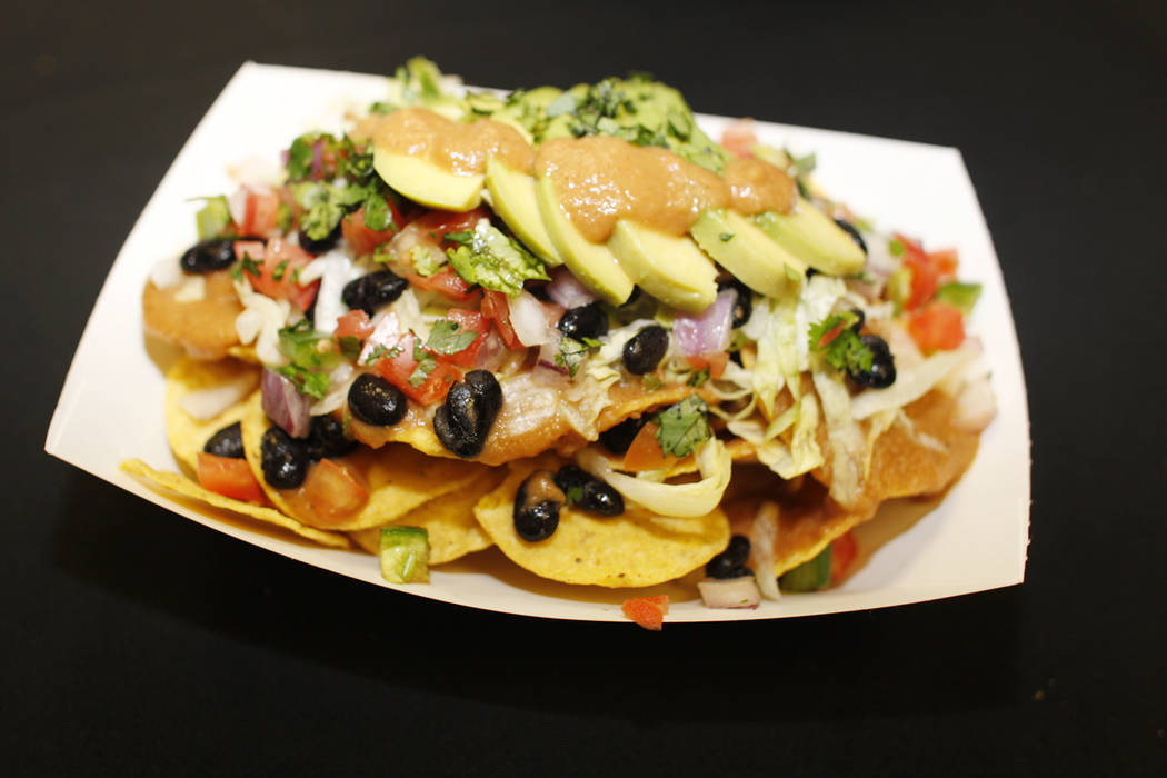 Vegan nachos that will be sold under the new concessionaire, Centerplate, on Monday, April 10, 2017, at Cashman Field in Las Vegas. Rachel Aston Las Vegas Review Journal @rookie__rae