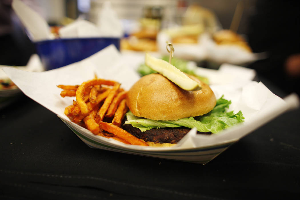 The veggie burger that will be sold under the new concessionaire, Centerplate, on Monday, April 10, 2017, at Cashman Field in Las Vegas. Rachel Aston Las Vegas Review Journal @rookie__rae