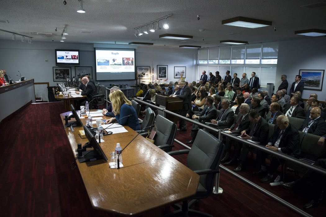 People attend a Las Vegas Convention and Visitors Authority board meeting at the Las Vegas Convention Center on Tuesday, April 11, 2017, in Las Vegas. Erik Verduzco Las Vegas Review-Journal @Erik_ ...
