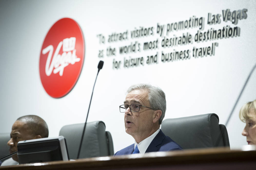 Las Vegas Convention and Visitors Authority board vice chairman and president of Mandalay Bay Chuck Bowling, center, during a board meeting at the Las Vegas Convention Center on Tuesday, April 11, ...