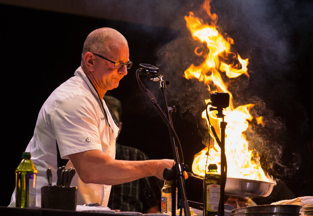 "Chef Robert Irvine makes it sizzle during his Tropicana show ""Robert Irvine: Live"" at the Tropicana. He announced the name of the restaurant he will open at the resort: Robert Irvine Public House. ..."