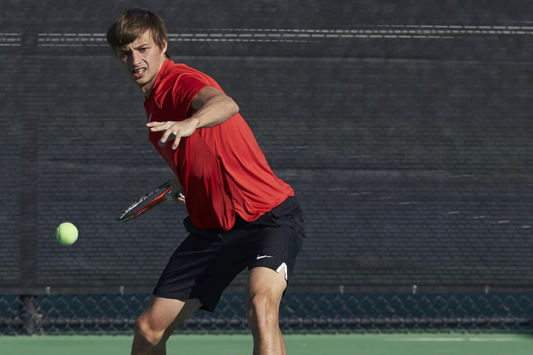Men's tennis player Alexandr Cozbinov on January 26, 2017. (R. Marsh Starks/UNLV Photo Services)