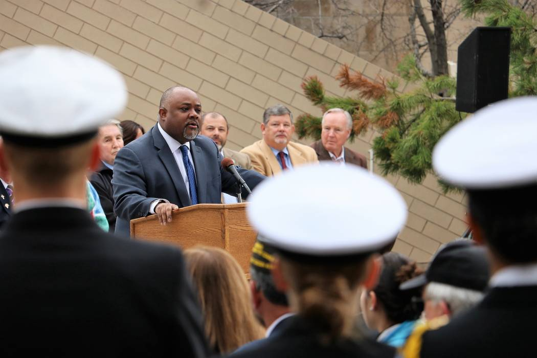 Assembly Speaker Jason Frierson, D-Las Vegas, praises the sacrifices made by veterans during a speech at 2017 Veterans and Military Day at the Legislature, Wednesday, March 15, 2017. (Victor Joeck ...