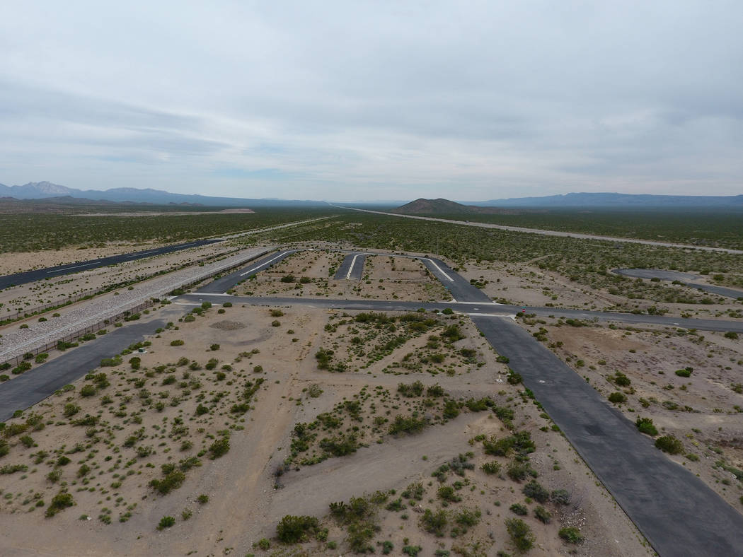 Aerial view of Searchlight airport on Tuesday, April 11, 2017. Jonathan Daniels, founder of Praxis Aerospace Concepts International, plans to open a drone testing site at the airpark. Michael Quin ...